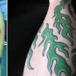 blue and green color flame tattoo