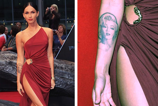 megan fox tattoos removed. megan fox marilyn tattoo