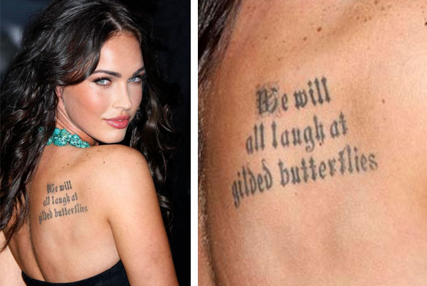 megan fox shoulder tattoo The next textually prominent tattoo Megan got was