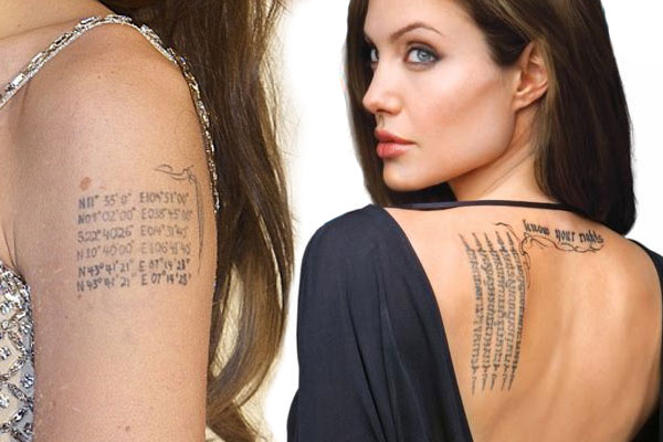 angelina jolie brad pit tattoo